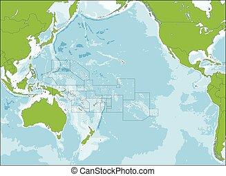 карта, океания