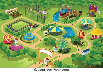 карта, парк, развлечение