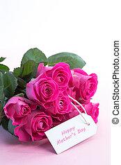 карта, розовый, mothers, roses, таблица, день, букет, счастливый