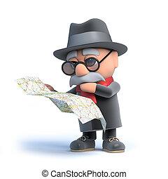 карта, чтение, пожилой человек, 3d