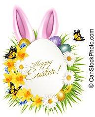 карта, eggs, весна, пасха, день отдыха, grass., красочный, получение, цветы, vector.
