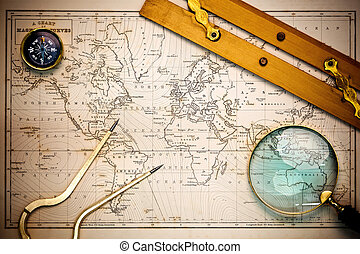 карта, objects., старый, навигационный