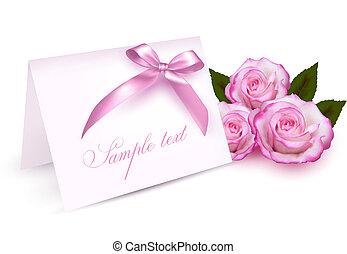 карта, roses, приветствие, красота