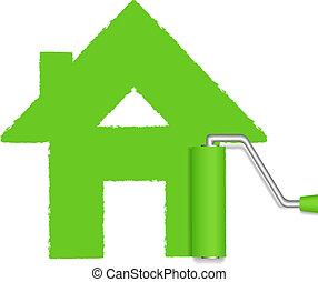 картина, зеленый, ролик, дом