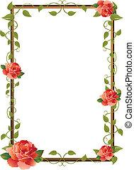 картина, рамка, роза