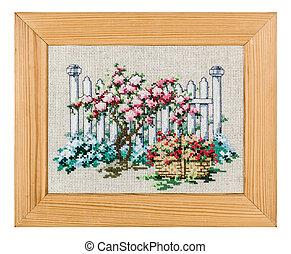 картина, рамка, isolated, embroidered, задний план, белый