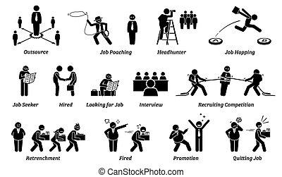 карьера, icons, set., работа, занятость