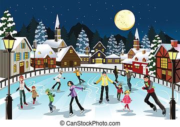 катание на коньках, лед, люди