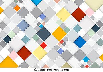 квадрат, красочный, абстрактные, современное, -, вектор, ретро, задний план