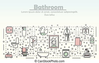 квартира, ванная комната, изобразительное искусство, иллюстрация, вектор, реклама, линия