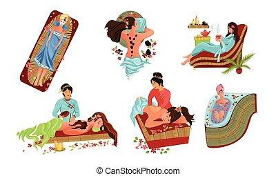 квартира, вектор, спа, принятие, задавать, салон, иллюстрация, treatment., мультфильм, relaxing, милый, девушка, style.