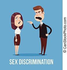 квартира, женщина, офис, пол, concept., персонаж, иллюстрация, босс, вектор, worker., наемный рабочий, мультфильм, сердитый, кричащий, дискриминация, человек