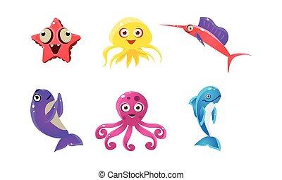 квартира, жизнь, задавать, animals, creatures., веселая, тема, вектор, подводный, море, морской, мультфильм, faces.