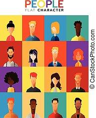 квартира, задавать, бизнес, люди, коллекция, вектор, иллюстрация, characters, разнообразный, мультфильм, стиль