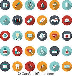 квартира, задавать, медицинская, иллюстрация, вектор, icons.