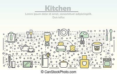 квартира, изобразительное искусство, иллюстрация, вектор, реклама, линия, кухня
