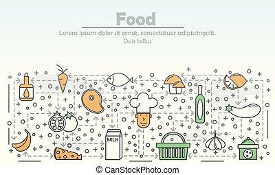 квартира, изобразительное искусство, питание, иллюстрация, вектор, реклама, линия