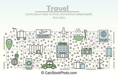 квартира, изобразительное искусство, путешествовать, иллюстрация, вектор, реклама, линия