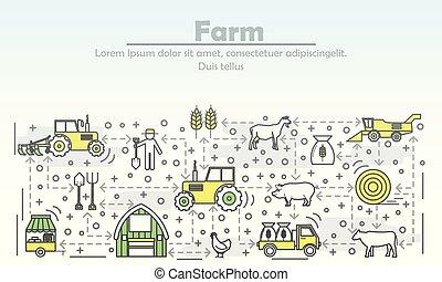 квартира, изобразительное искусство, ферма, иллюстрация, вектор, реклама, линия