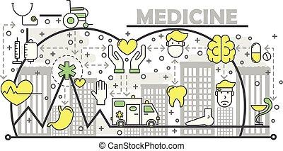 квартира, концепция, изобразительное искусство, иллюстрация, вектор, лекарственное средство, линия
