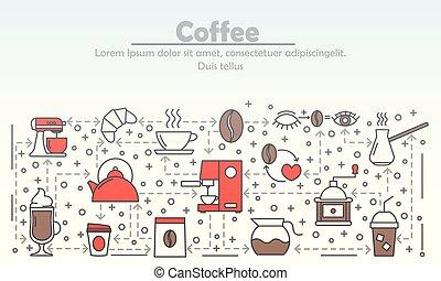 квартира, кофе, изобразительное искусство, иллюстрация, вектор, реклама, линия