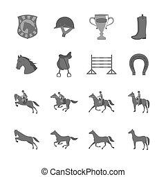 квартира, лошадь, задавать, riders, icons
