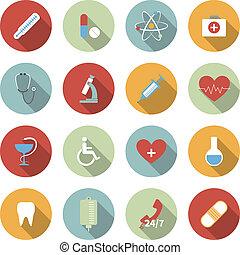 квартира, медицинская, вектор, задавать, icons