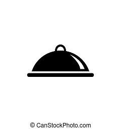 квартира, питание, вектор, covered, лоток, еда, значок