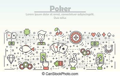 квартира, покер, изобразительное искусство, иллюстрация, вектор, реклама, линия