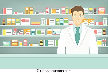 квартира, стиль, shelves, medicines, напротив, молодой, аптека, фармацевт