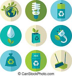 квартира, экология, задавать, отходы, icons