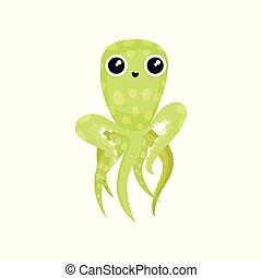 квартира, creature., осьминог, блестящий, длинный, вектор, зеленый, животное, большой, tentacles., eyes., прекрасный, морской, море, значок