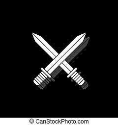 квартира, swords, пересекать, значок
