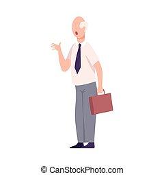 квартира, yelling, офис, персонаж, угрожающий, сердитый, или, босс, мужской, работник, вектор, иллюстрация