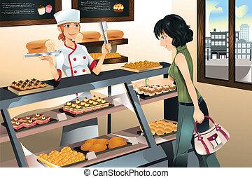 кекс, пекарня, buying, магазин
