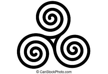 кельтская, triskele, спираль, тройной, или