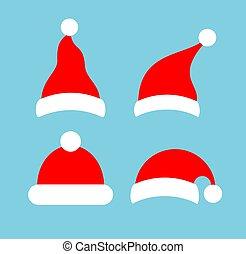 кепка, рождество, вектор, значок, красная шапка, или