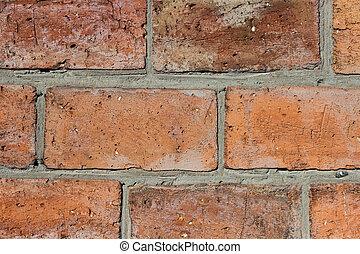 кирпичная кладка, сделал, wall., большой, brick., задний план, кирпич, красный