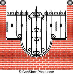 кирпич, забор, железо