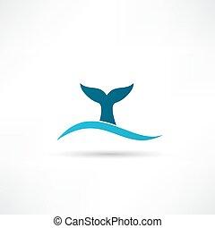 кит, хвост, значок