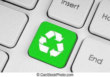 клавиатура, перерабатывать, зеленый, концепция, кнопка