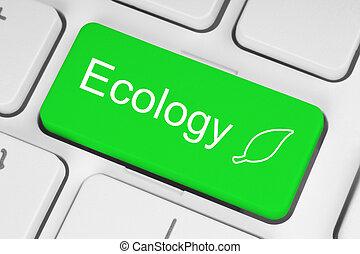 клавиатура, экология, зеленый, концепция, кнопка