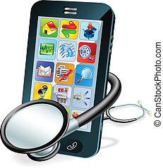 клетка, телефон, концепция, здоровье, проверить