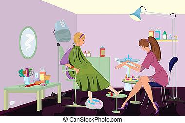клиент, педикюр, получение, красота, салон