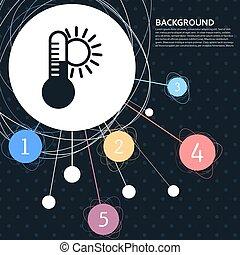 климат, вектор, точка, температура, лекарственное средство, infographic, термометр, задний план, погода, style., значок