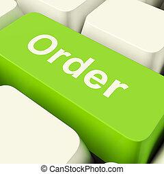 ключ, поход по магазинам, компьютер, заказ, показ, зеленый, онлайн, purchases