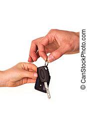 ключ, handing, мужской, другой, автомобиль, над, isolated, это, человек, держа, рука