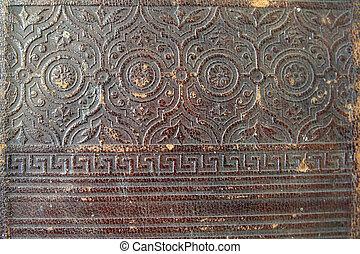 книга, крупный план, embossed, старый, texture., обложка, кожа, марочный, орнамент, ornaments.