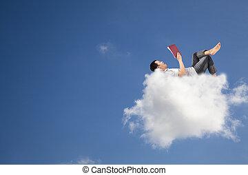 книга, чтение, облако, расслабиться