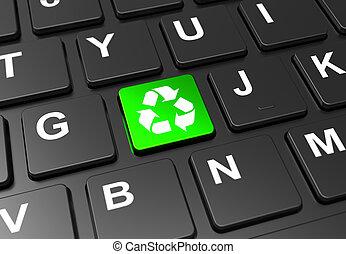 кнопка, вверх, знак, зеленый, клавиатура, перерабатывать, закрыть, черный